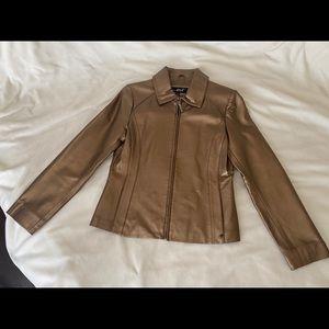 BLACK Rivet Leather Gold Jacket Size Small